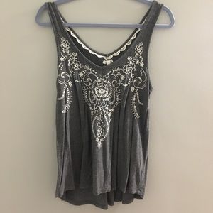 Tops - gray embroidered tank